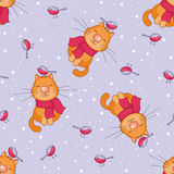 Vrolijk katten naadloos patroon Royalty-vrije Stock Foto's