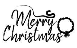 Vrolijk Kerstkaart en kalligrafie Gelukkig Nieuwjaar Malplaatje FO stock illustratie