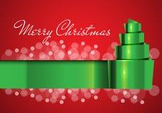 Vrolijk Kerstkaart groen lint op rood met wit bokehontwerp voor de vector van het vakantiefestival Royalty-vrije Stock Fotografie
