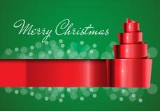 Vrolijk Kerstkaart rood lint op groen ontwerp voor de vector van het vakantiefestival Royalty-vrije Stock Afbeelding