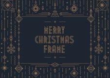 Vrolijk Kerstkaartmalplaatje met nieuwe jaarstuk speelgoed gouden art decostijl op zwarte achtergrond Stock Fotografie