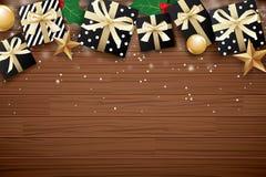 Vrolijk Kerstmis achtergrondontwerpmalplaatje Giftdoos en gouden bedelaars vector illustratie