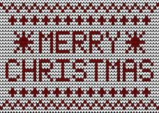 Vrolijk Kerstmis Breiend Patroon Royalty-vrije Stock Afbeeldingen