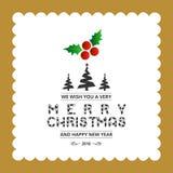 Vrolijk Kerstmis creatief ontwerp met typografievector stock illustratie