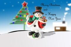 Vrolijk Kerstmis en Nieuwjaar Haapy Stock Afbeeldingen