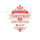 Vrolijk Kerstmis en Nieuwjaargroeten klassiek kenteken Royalty-vrije Stock Foto