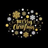 Vrolijk Kerstmis gouden schitterend het van letters voorzien ontwerp stock illustratie
