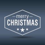 Vrolijk Kerstmis hexagonaal wit uitstekend etiket Stock Fotografie