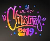 Vrolijk Kerstmis 2019 jaar De kaart van groeten Kleurrijk het van letters voorzien ontwerp Vector illustratie stock illustratie
