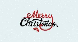 Vrolijk Kerstmis kalligrafisch tekstlabel met ilextak met bes en bladeren Kerstmistypografie geïsoleerd kenteken vector illustratie