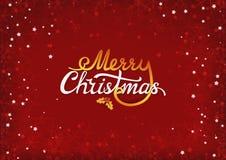 Vrolijk Kerstmis kalligrafisch tekstlabel met ilextak, bessen en bladeren Het kenteken van de Kerstmistypografie De donkerrode Ac vector illustratie