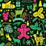 Vrolijk Kerstmis naadloos patroon, Gelukkige Nieuwjaarachtergrond, wra Royalty-vrije Stock Afbeelding