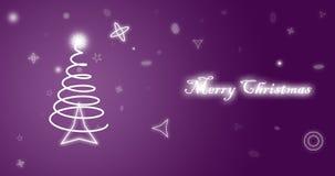 Vrolijk Kerstmis purper behang Stock Afbeelding