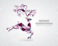 Vrolijk Kerstmis retro geometrisch rendier vector illustratie