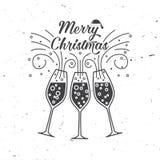 Vrolijk Kerstmis retro malplaatje met Champagne-glazen stock illustratie