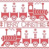 Vrolijk Kerstmis Skandinavisch naadloos Noords patroon met justrein, Kerstmisgiften, hartsterren, sneeuwvlokken in rood kruisstee Stock Fotografie