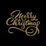 Vrolijk Kerstmis Van letters voorziend Kenteken Stock Afbeelding