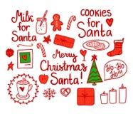 Vrolijk Kerstmis Vastgesteld leuk decor Vector rode die de vakantieelementen van de handtekening op witte achtergrond worden geïs royalty-vrije illustratie