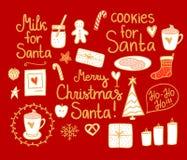 Vrolijk Kerstmis Vastgesteld leuk minidecor De vector gouden, witte vakantie van de handtekening ele op rode achtergrond Koekjes  royalty-vrije illustratie