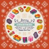 Vrolijk Kerstmis vector het verfraaien ontwerp stock illustratie