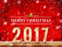 Vrolijk Kerstmis 2017 woord in perspectiefruimte met het rode fonkelen Royalty-vrije Stock Afbeelding