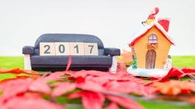 Vrolijk Kerstmisachtergrond en nummer 2017 t Royalty-vrije Stock Afbeelding