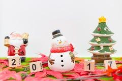 Vrolijk Kerstmisachtergrond en nummer 2017 t Royalty-vrije Stock Fotografie