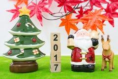 Vrolijk Kerstmisachtergrond en nummer 2017 t Stock Foto