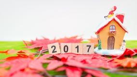 Vrolijk Kerstmisachtergrond en nummer 2017 t Stock Afbeeldingen