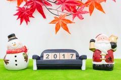 Vrolijk Kerstmisachtergrond en nummer 2017 t Royalty-vrije Stock Foto