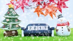 Vrolijk Kerstmisachtergrond en nummer 2017 t Stock Afbeelding