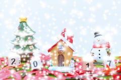 Vrolijk Kerstmisachtergrond en nummer 2017 t Royalty-vrije Stock Foto's