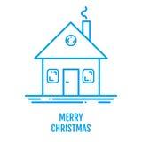 Vrolijk Kerstmisconcept met huis en rook in overzichtsstijl Royalty-vrije Stock Afbeelding