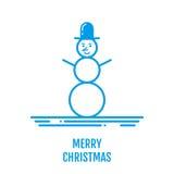 Vrolijk Kerstmisconcept met sneeuwman in hoed in overzichtsstijl Stock Foto's