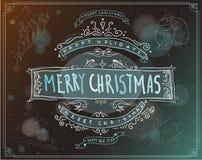 Vrolijk Kerstmisembleem of etiket vector illustratie