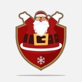 Vrolijk Kerstmisembleem met gelukkige Santa Claus Het karakter van het beeldverhaal Vector stock illustratie
