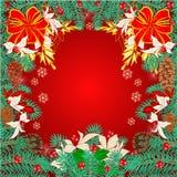Vrolijk Kerstmiskader van pijnboomnaalden Stock Afbeeldingen