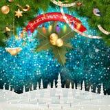 Vrolijk Kerstmislandschap Eps 10 stock illustratie