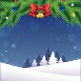 Vrolijk Kerstmislandschap met decoratie stock illustratie