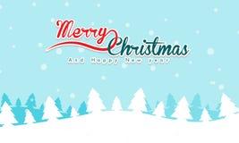 Vrolijk Kerstmislandschap met tekst en berg op achtergrond stock foto