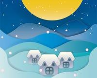 Vrolijk Kerstmislandschap met volle maan Vector royalty-vrije illustratie