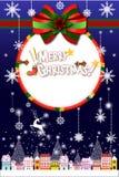Vrolijk Kerstmislandschap van de binnenstad, een boom en een winkel in sneeuwval - illustratie eps10 Stock Fotografie