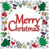 Vrolijk Kerstmismalplaatje met verschillende Kerstmiselementen om kader stock illustratie