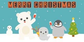 Vrolijk Kerstmisneonlicht met noordpooldierenpartij vector illustratie