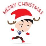 Vrolijk Kerstmisnieuwjaar met glimlachende binnen jongen, het thema witte achtergrond van de de Wintervakantie Stock Afbeelding