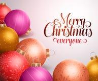 Vrolijk Kerstmisontwerp als achtergrond met kleurrijke Kerstmisballen royalty-vrije illustratie