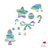 Vrolijk Kerstmisontwerp met kleuren van lijn binnen voorwerp Royalty-vrije Stock Afbeeldingen
