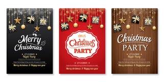 Vrolijk Kerstmispartij en giftvakje op achtergronduitnodiging hen royalty-vrije illustratie