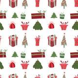 Vrolijk Kerstmispatroon met de Wintervakantie Stock Foto