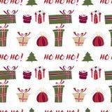 Vrolijk Kerstmispatroon met de Wintervakantie Stock Afbeeldingen